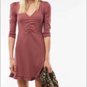 Express Rose Pink V Neck Puff Sleeve Dress